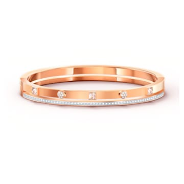 Bracelet-jonc Thrilling, blanc, métal doré rose - Swarovski, 5572925