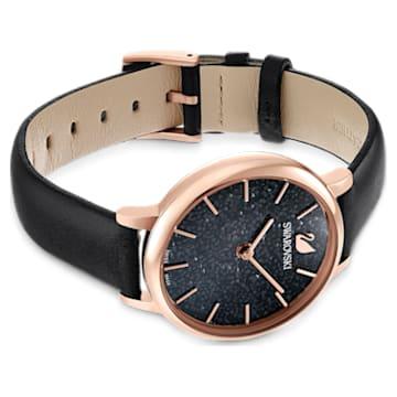 Zegarek Crystalline Joy, Skórzany pasek, Czarny, Powłoka PVD w odcieniu różowego złota - Swarovski, 5573857