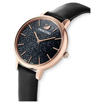 Crystalline Joy Watch, Leather strap, Black, Rose-gold tone PVD - Swarovski, 5573857