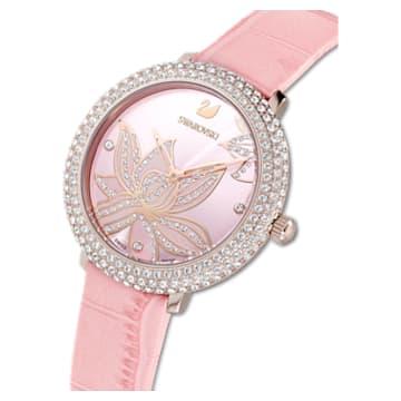 Crystal Frost 腕表, 真皮表带, 粉红色, 玫瑰金色调 PVD - Swarovski, 5575217