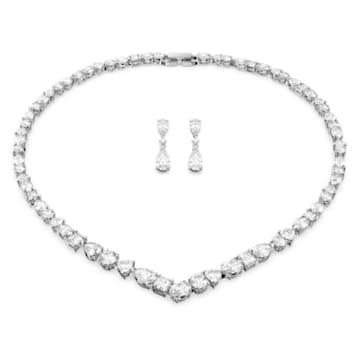 Tennis Deluxe V 套裝, 混合切割水晶, 白色, 鍍白金色 - Swarovski, 5575495