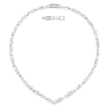 Tennis Deluxe V set, Mixed crystals cut, White, Rhodium plated - Swarovski, 5575495