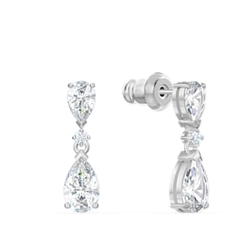 Tennis Deluxe V set, Precision cut crystals, White, Rhodium plated - Swarovski, 5575495