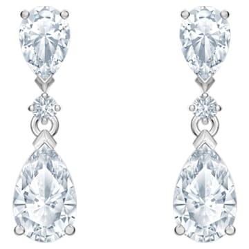 Attract Drop Pierced Earrings, White, Rhodium plated - Swarovski, 5576616