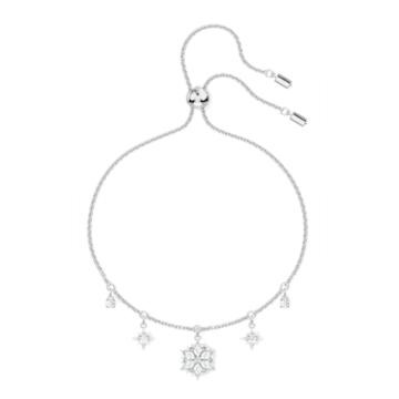 Magic 手鏈, 雪花, 白色, 鍍白金色 - Swarovski, 5576695