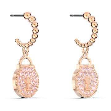 Togetherness Lock Hoop Pierced Earrings, Pink, Rose-gold tone plated - Swarovski, 5577011