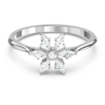 Magic Ring, White, Rhodium plated - Swarovski, 5578444
