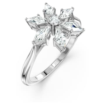 Magic-ring, Wit, Rodium-verguld - Swarovski, 5578444