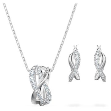 Parure Twist, blanc, métal rhodié - Swarovski, 5579790