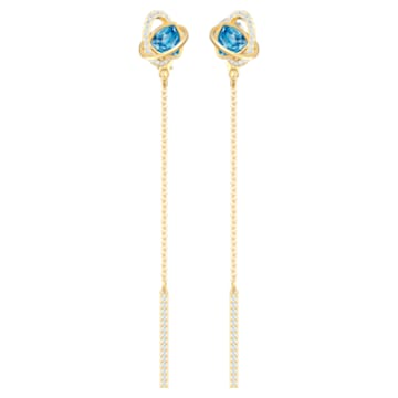 Outstanding Pierced Earrings, Aqua, Gold-tone plated - Swarovski, 5580273