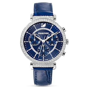 Passage Chrono Watch, Leather strap, Blue, Stainless Steel - Swarovski, 5580342