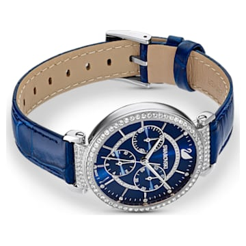 Passage Chrono Watch , Leather strap, Blue, Stainless steel - Swarovski, 5580342