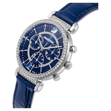 Passage Chrono Uhr, Lederarmband, blau, Edelstahl - Swarovski, 5580342