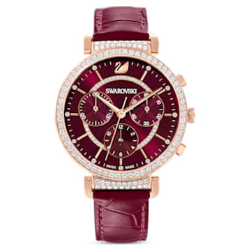 Passage Chrono Watch , Leather strap, Red, Rose-gold tone PVD - Swarovski, 5580345