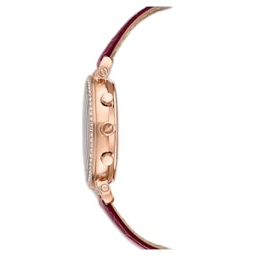 Passage Chrono Uhr, Lederarmband, Rot, Roségoldfarbenes PVD-Finish - Swarovski, 5580345