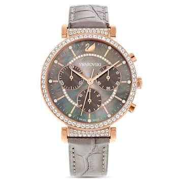 Montre Passage Chrono, bracelet en cuir, gris, PVD doré rose - Swarovski, 5580348