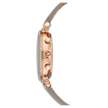Passage Chrono 腕表, 真皮表带, 灰色, 玫瑰金色调 PVD - Swarovski, 5580348