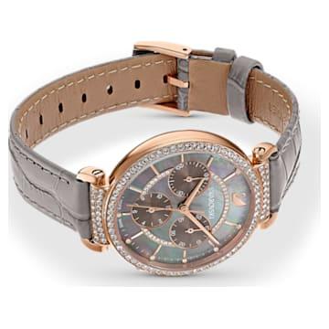 Passage Chrono Watch , Leather strap, Grey, Rose-gold tone PVD - Swarovski, 5580348