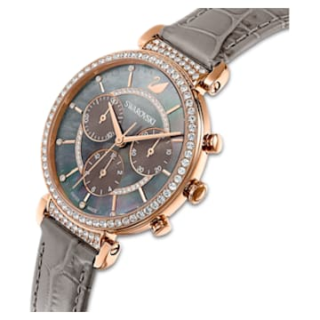 Passage Chrono Watch, Leather strap, Gray, Rose-gold tone PVD - Swarovski, 5580348