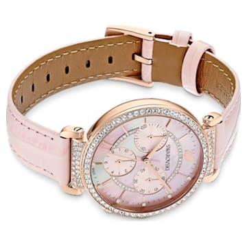 Orologio Passage Chrono, cinturino in pelle, rosa, PVD oro rosa - Swarovski, 5580352