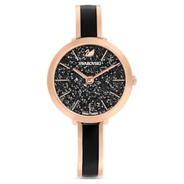Crystalline Delight 手錶, 金屬手鏈, 黑色, 玫瑰金色調PVD - Swarovski, 5580530