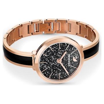 Crystalline Delight Uhr, Metallarmband, Schwarz, Roségoldfarbenes PVD-Finish - Swarovski, 5580530