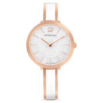 Orologio Crystalline Delight, bracciale di metallo, bianco, PVD oro rosa - Swarovski, 5580541