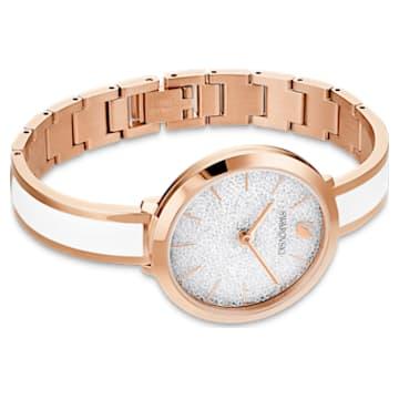 Crystalline Delight 手錶, 金屬手鏈, 白色, 玫瑰金色調PVD - Swarovski, 5580541