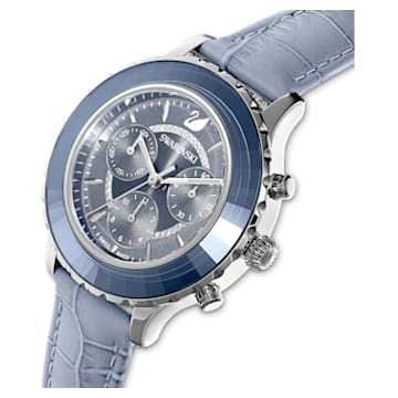 Octea Lux Chrono Uhr, Lederarmband, blau, Edelstahl - Swarovski, 5580600