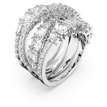 Δαχτυλίδι Twist Wrap, λευκό, επιροδιωμένο - Swarovski, 5580952