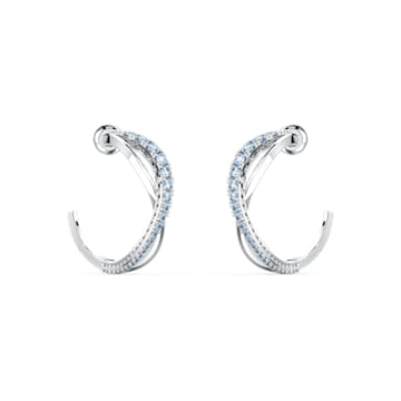 Twist 穿孔耳環, 藍色, 鍍白金色 - Swarovski, 5582807
