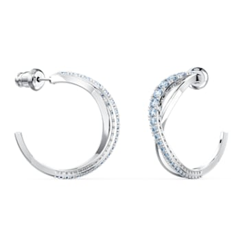 Twist Hoop Pierced Earrings, Blue, Rhodium plated - Swarovski, 5582807