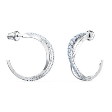Twist Hoop Pierced Earrings, Blue, Rhodium plated - Swarovski, 5582807