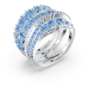 Twist Wrap Ring, Blue, Rhodium plated - Swarovski, 5584649