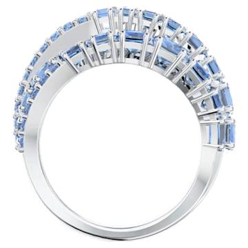 Inel împletit Twist Wrap, albastru, placat cu rodiu - Swarovski, 5584651