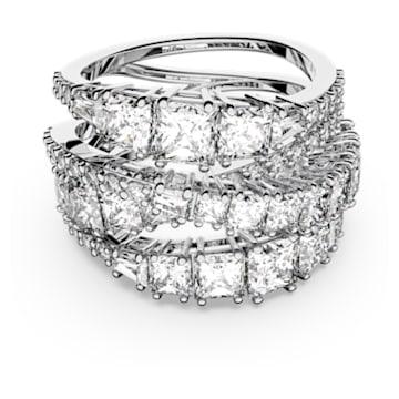 Prsten Twist Wrap, bílý, rhodiovaný - Swarovski, 5584656
