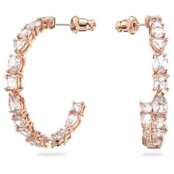 Tennis Deluxe karika fülbevaló, Különféle metszésű kristályok, Fehér, Rózsaarany-tónusú bevonattal - Swarovski, 5585438