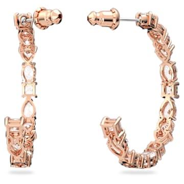 Anneaux d'oreilles Tennis Deluxe, Cristaux taille mixte, Blanc, Placage de ton or rosé - Swarovski, 5585438