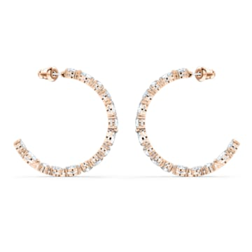 Tennis Deluxe 大圈耳环, 混合切割仿水晶, 白色, 镀玫瑰金色调 - Swarovski, 5585438