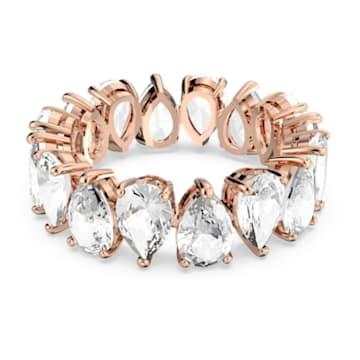 Vittore Pear Ring, weiss, Rosé vergoldet - Swarovski, 5586161