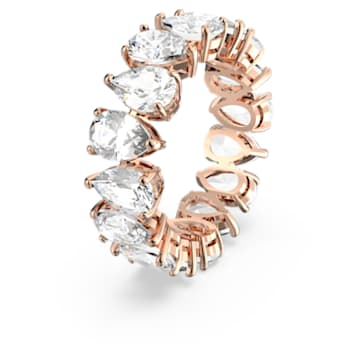 Vittore ring, Pear cut crystals, White, Rose gold-tone plated - Swarovski, 5586162