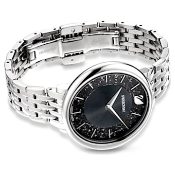 Crystalline Chic Watch, Metal Bracelet, Black, Stainless steel - Swarovski, 5587527