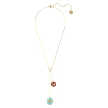 Flower of Fortune Y形项链, 花朵, 流光溢彩, 镀金色调 - Swarovski, 5597664
