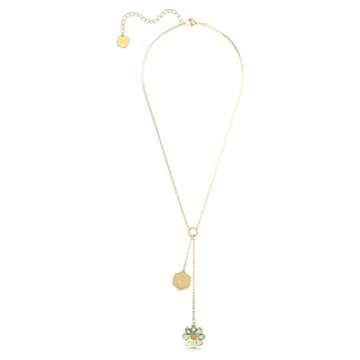 Flower of Fortune Y形项链, 花朵, 镀金色调 - Swarovski, 5597664