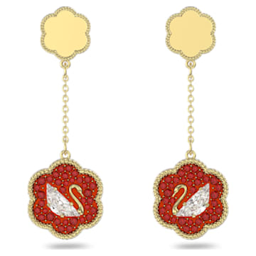 Flower of Fortune earrings, Swan, Red, Gold-tone plated - Swarovski, 5597667