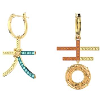 Flower of Fortune earrings, Asymmetrical, Multicolored, Gold-tone plated - Swarovski, 5597668
