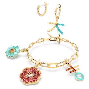 Flower of Fortune set, Swan, Multicolored, Gold-tone plated - Swarovski, 5597669
