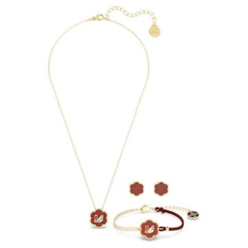 Flower of Fortune 套装, 花朵, 红色, 镀金色调 - Swarovski, 5597670