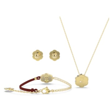 Flower of Fortune set, Flower, Red, Gold-tone plated - Swarovski, 5597670