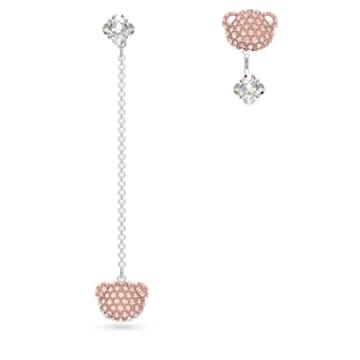 Teddy pierced earrings, Asymmetrical, Teddy, Pink, Rhodium plated - Swarovski, 5597924